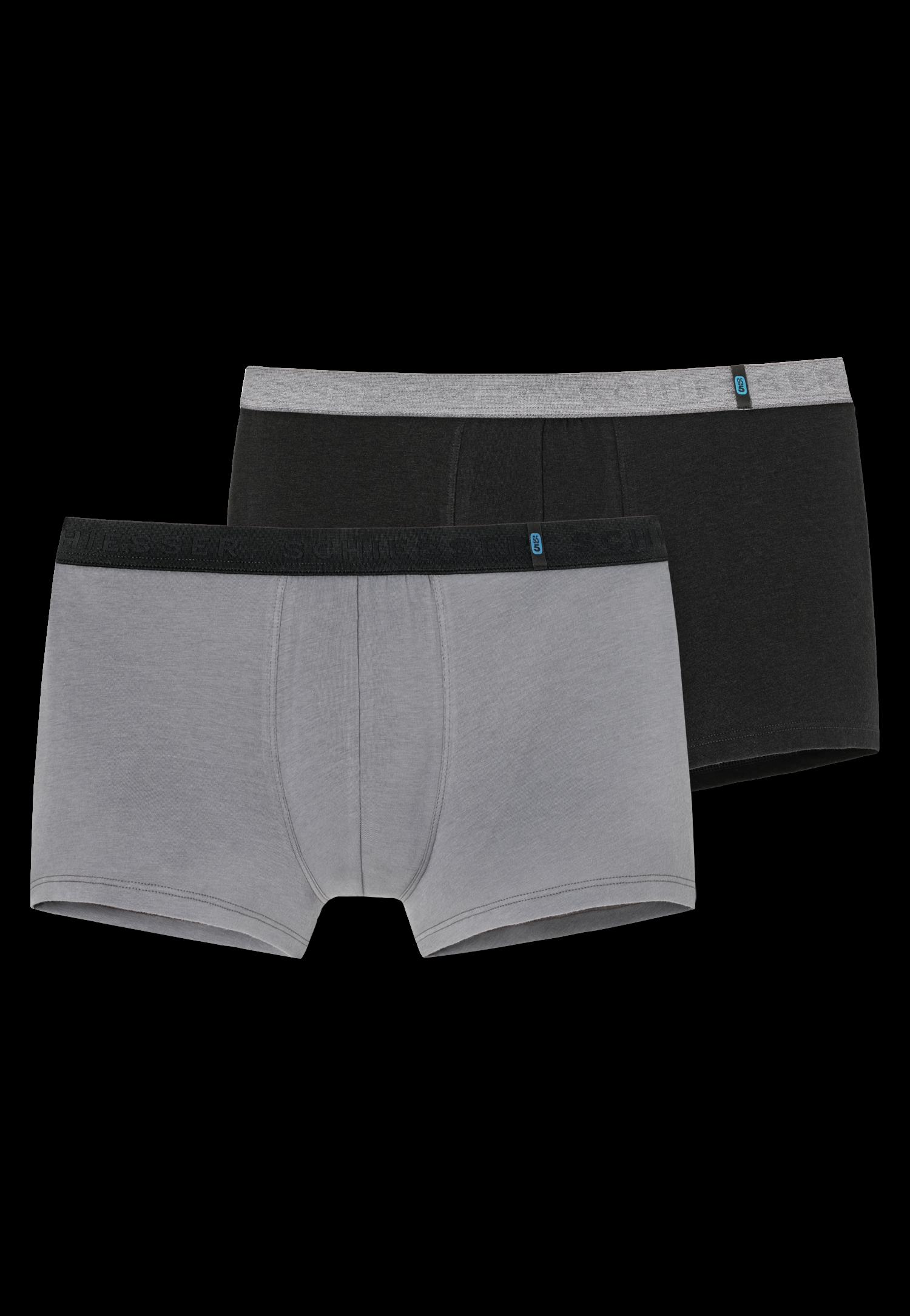 Schiesser 95/5 short kort 2-pack zwart/grijs