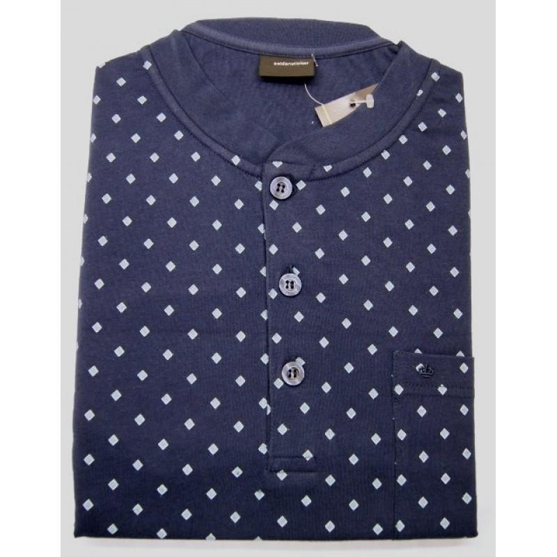 Schiesser Seidensticker heren nachthemd donkerblauw met lichtblauw blokje