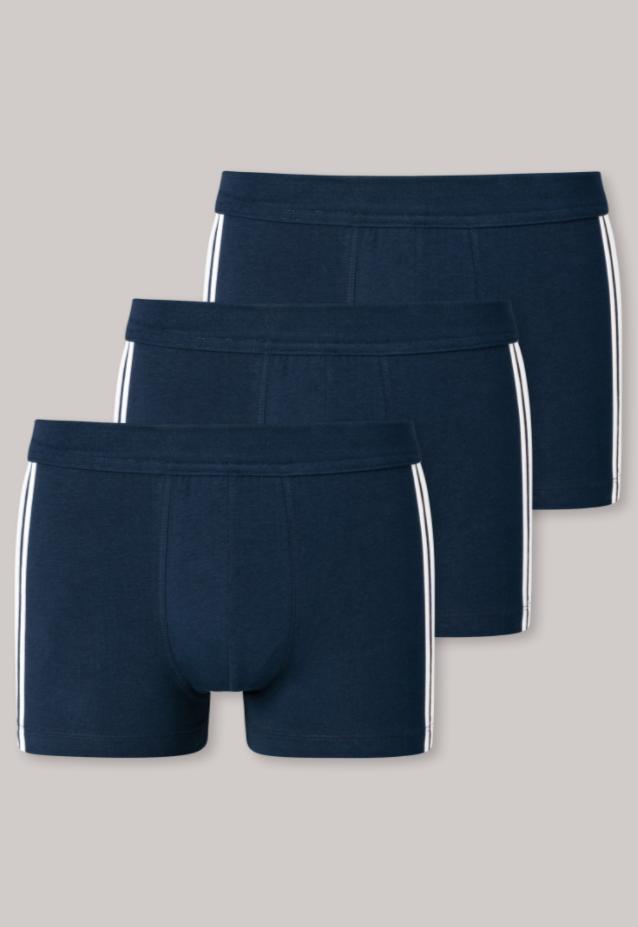 Schiesser 95/5 short, 3 pack donkerblauw met witte zijstrepen