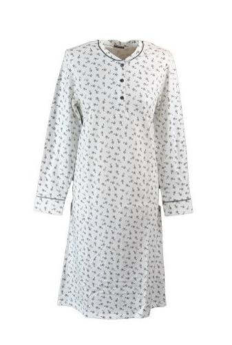 Schiesser dames nachthemd, crème met blauw/grijs bloemmotief
