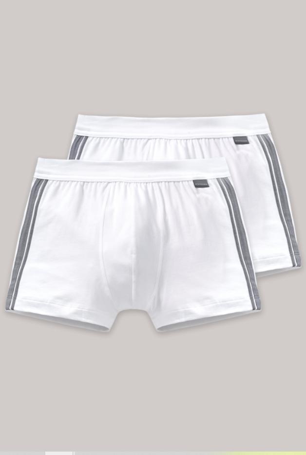 Schiesser Essential short, 2 pack, in wit, zwart en grijs verkrijgbaar