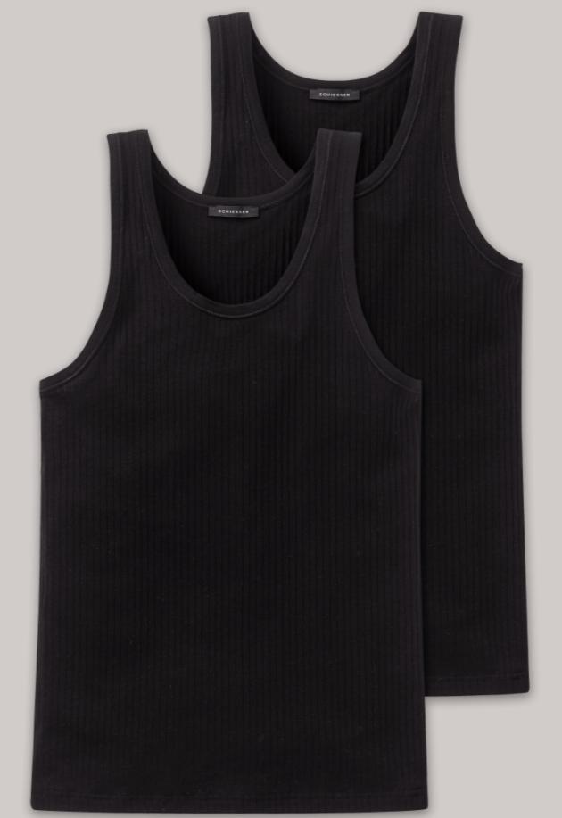 Schiesser Authentic hemd, 2 pack in wit en zwart verkrijgbaar