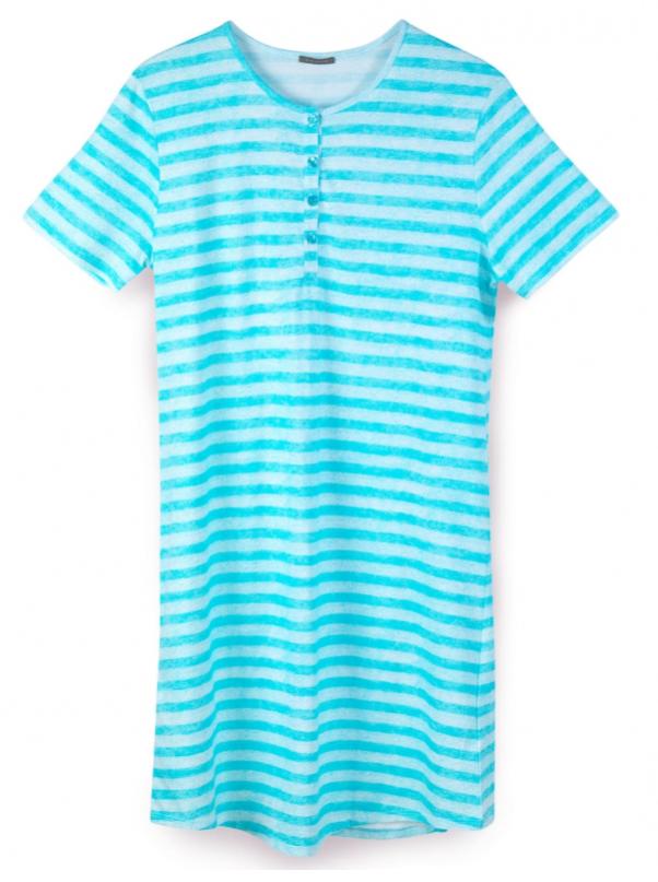 Schiesser dames nachthemd, turquoise gestreept