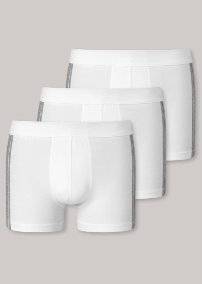 Schiesser 95/5 short, 3 pack wit met grijs-gemêleerde zijstrepen