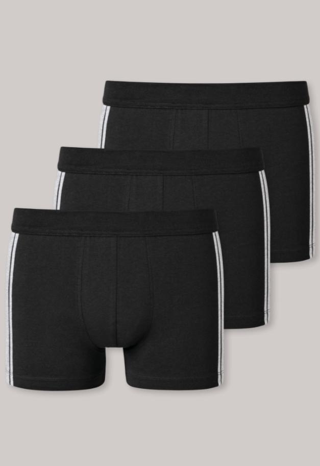 Schiesser 95/5 short, 3 pack zwart met grijs-gemêleerde zijstrepen