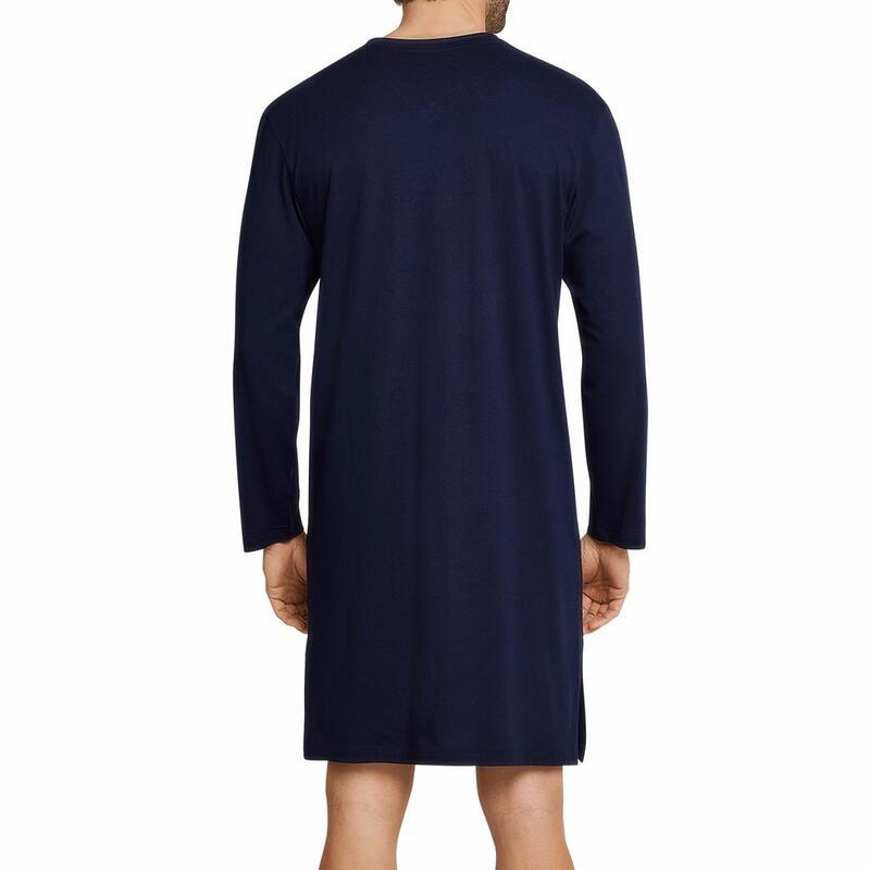 Schiesser Seidensticker heren nachthemd  donkerblauw met grijs randje