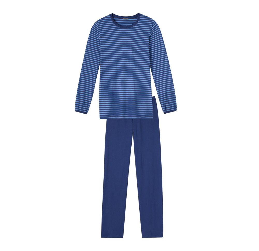 Schiesser dames pyjama, donkerblauw met lichtblauwe streep
