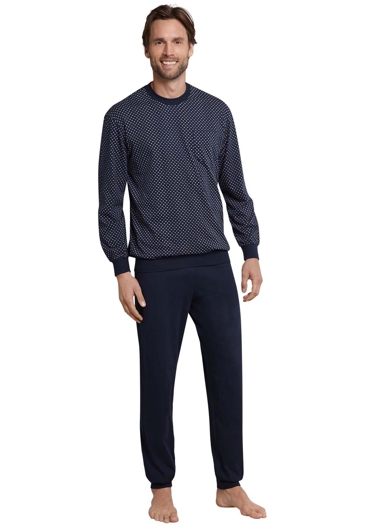 Schiesser heren pyjama, donkerblauw met klein wit blokje