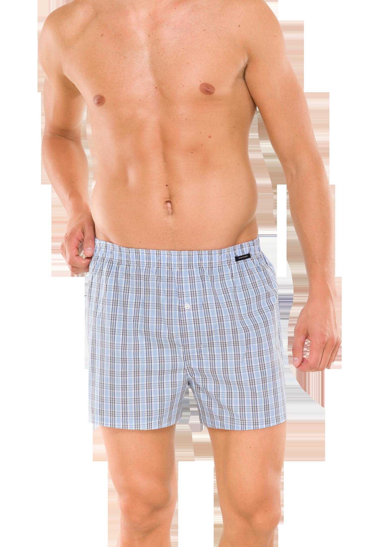 Schiesser boxershort wijd, blauwe witte ruit