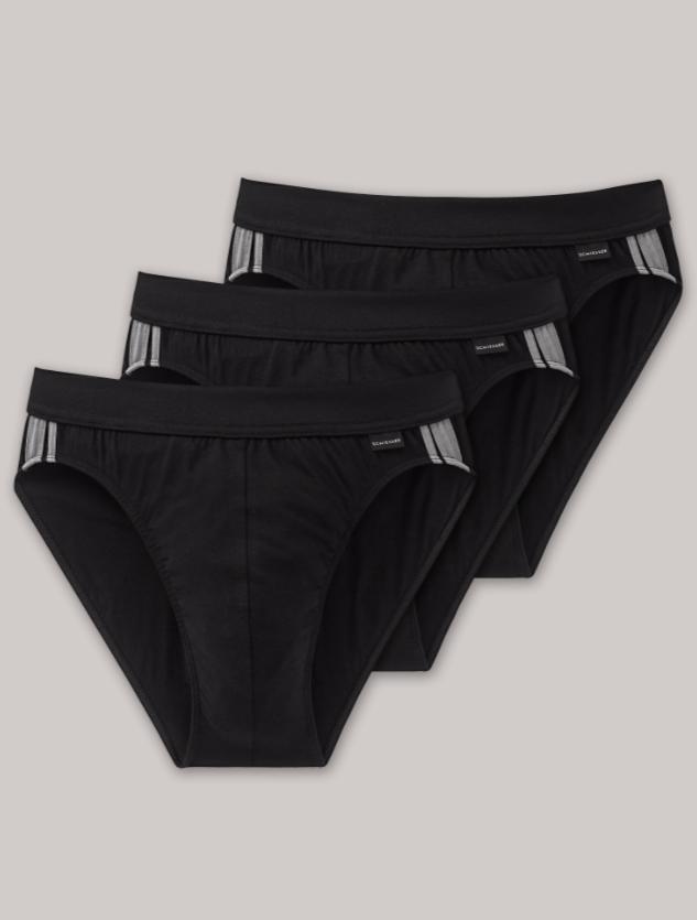 Schiesser Essential Rio-slip, 3 pack, in wit en zwart verkrijgbaar