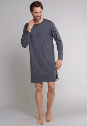 Schiesser heren nachthemd antraciet wit bedrukt