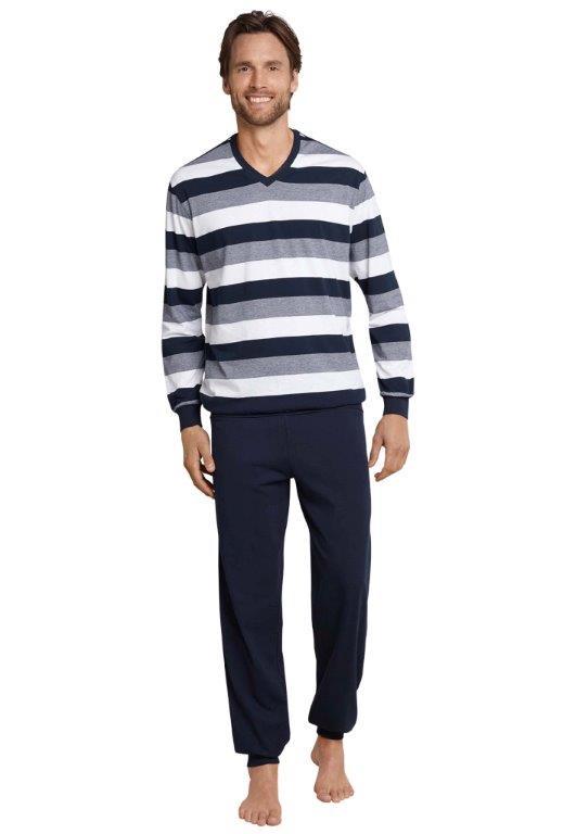 Schiesser heren pyjama, blauw grijs wit gestreept