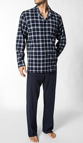 Schiesser knoop pyjama, blauw witte ruit