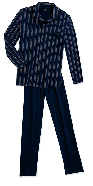 Schiesser knoop pyjama, navy gestreept